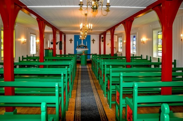 Visiting Greenland photos: The interior of Danish church in Kulusuk Greenland.  This is a popular spot on the Greenland tours from Iceland.