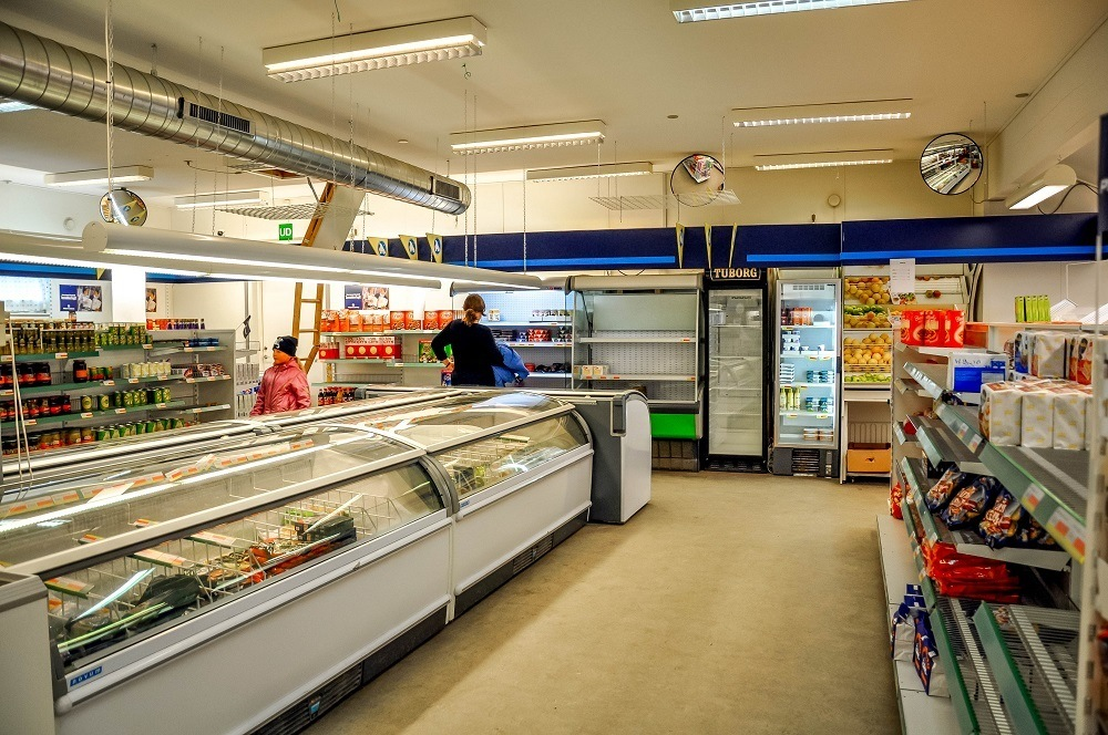 Inside the all-purpose general store and grocery store in Kulusuk