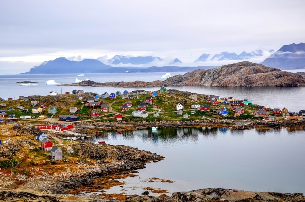 Kulusuk's brightly-colored houses on our day trip to Greenland