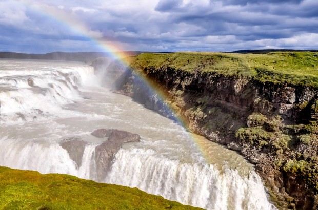 Gullfoss waterfall and rainbow