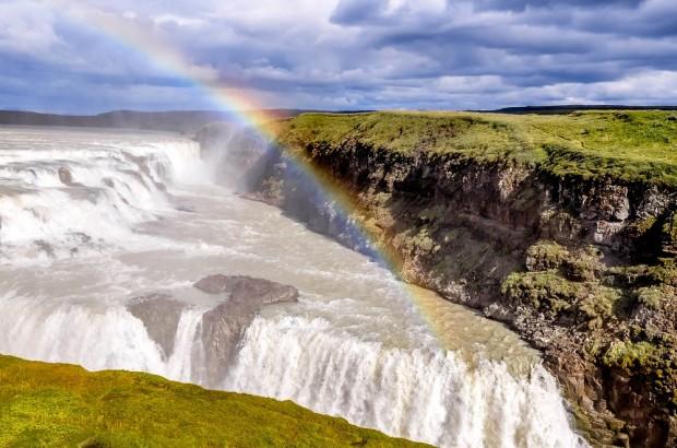 Gullfoss waterfall and rainbow