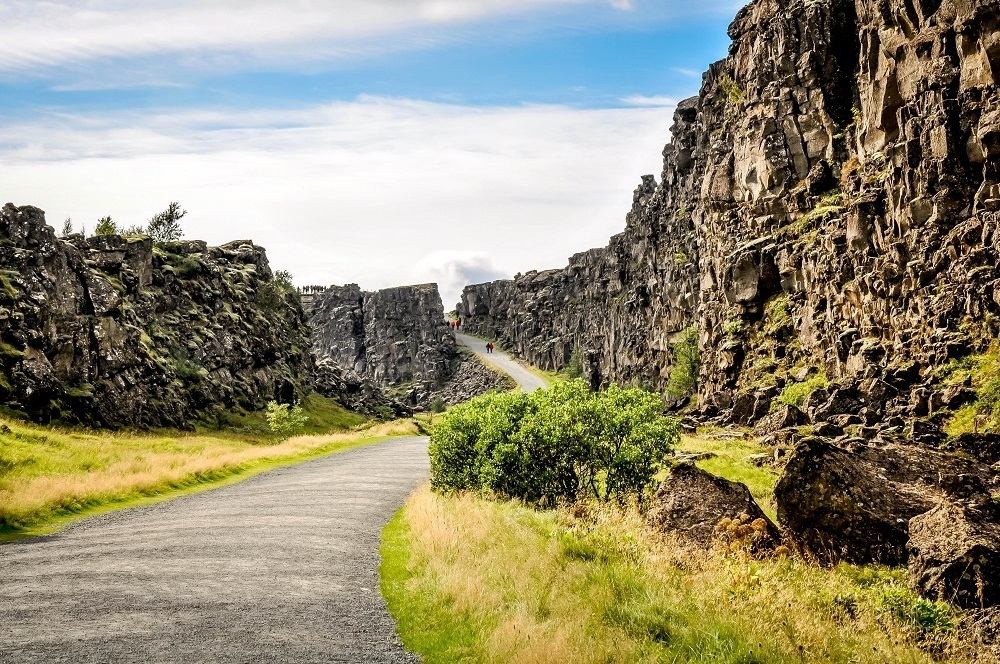 Pathway through two rock walls Thingvellir National Park
