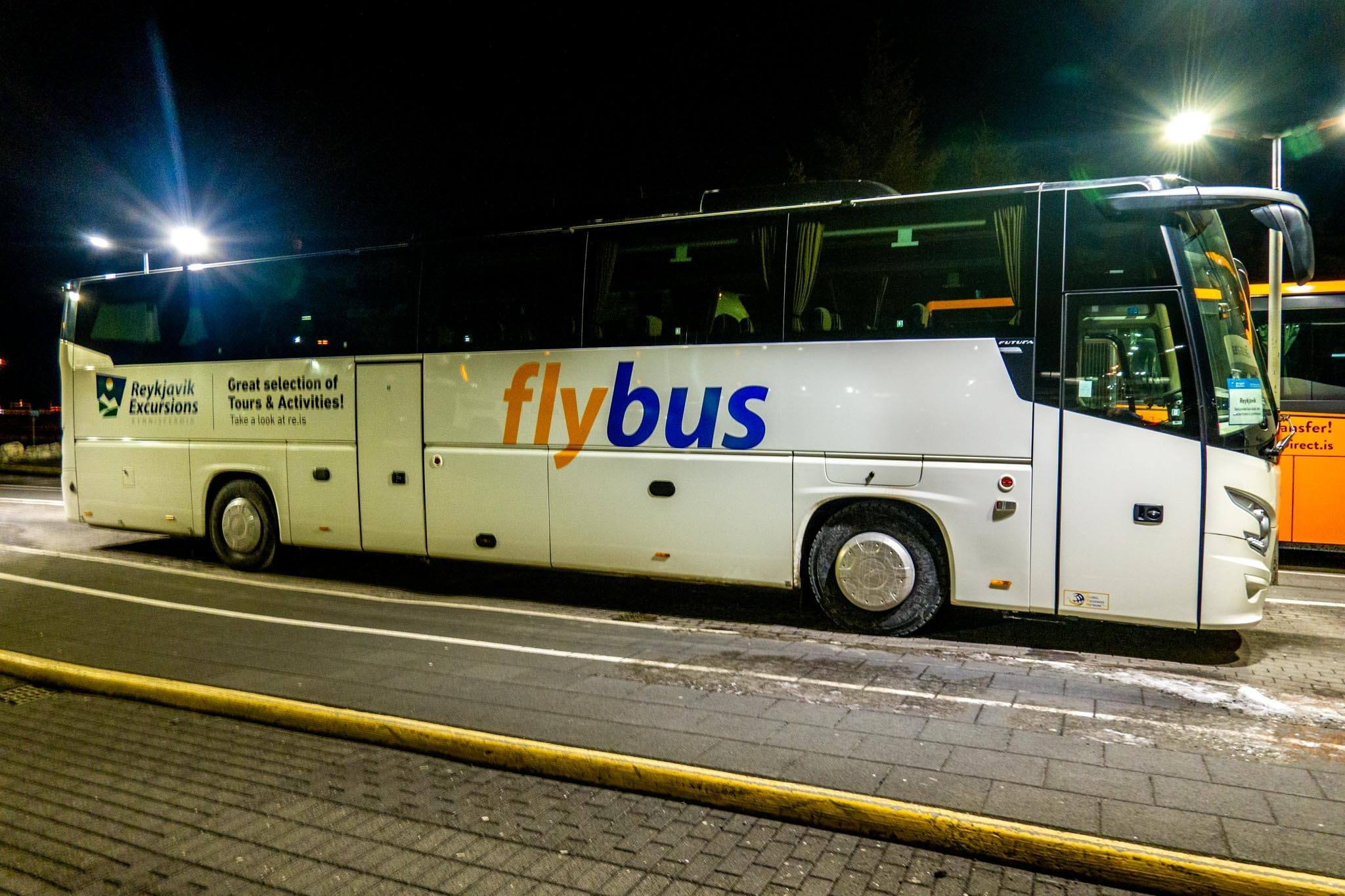 The Flybus sitting at the Keflavik airport