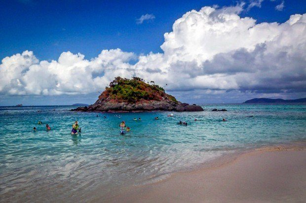 Trunk Bay St. John snorkeling: An underwater snorkel course is a popular St. John destination.  Visiting St. John Trunk Bay is one of our favorite cruise ship shore excursions.