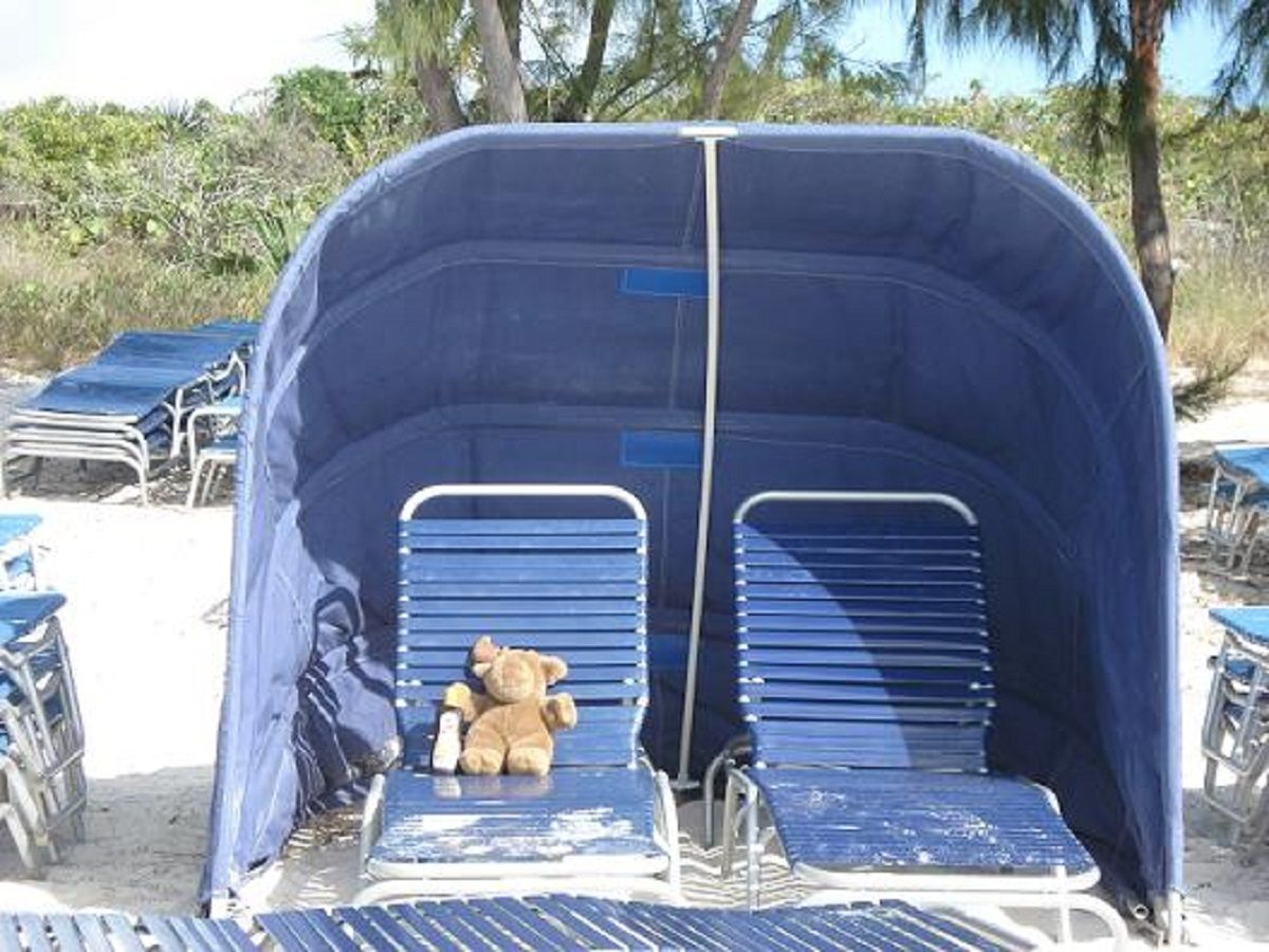 Our favorite Half Moon Cay Bahamas excursions option is the clamshell sunshade rental for two people.  You can adjust throughout the day as the sun shifts.