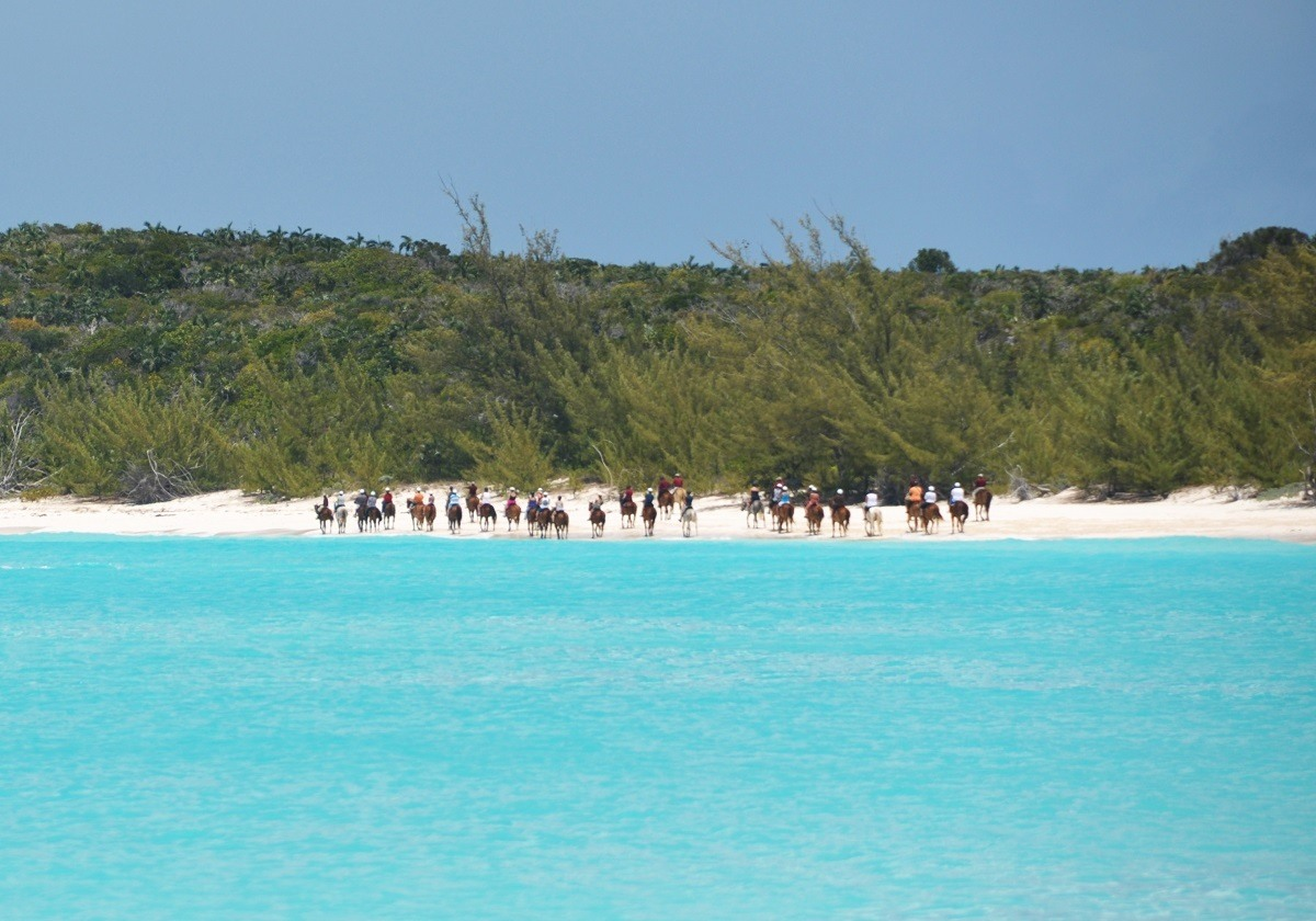 Horseback riding on the back at Half Moon Cay, Bahamas.