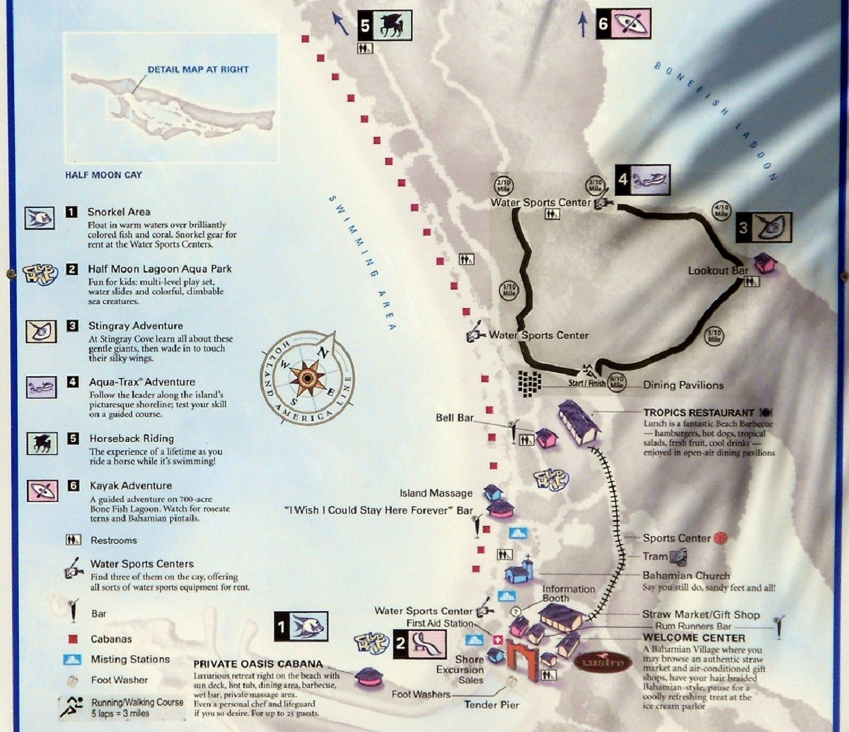Detailed Half Moon Cay Map, which shows all of the things to do in Half Moon Bay.