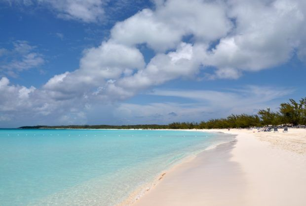 Enjoying the beach during one of our Carnival Half Moon Cay excursions.