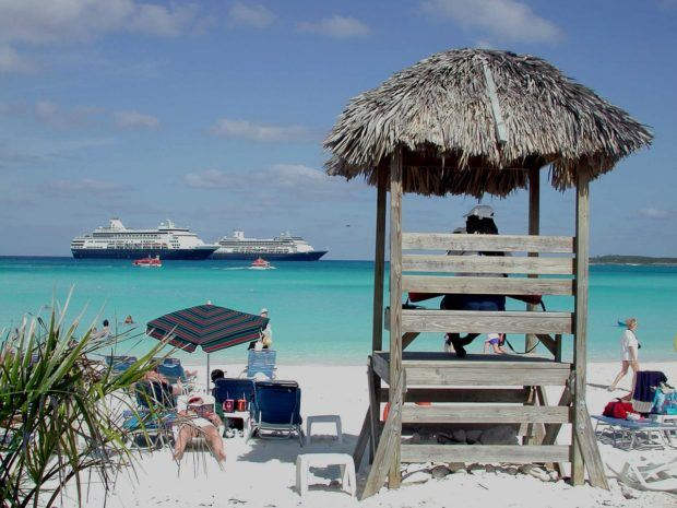 Two Holland America ships at the company's private island:  Half Moon Cay Bahamas.