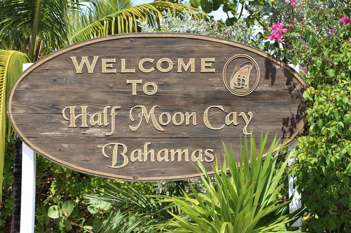 "Half Moon Cay pictures: The ""Welcome to Half Moon Cay Bahamas"" sign."