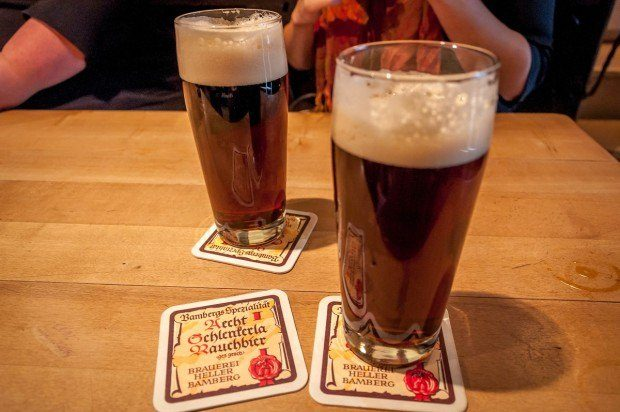 The world famous Rauchbier (or smoked beer) in Bamberg, Germany.  A beer tour is one of the top things to do in Bamberg.