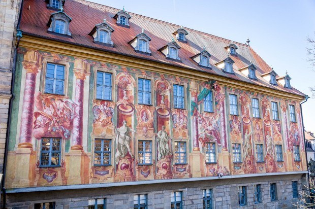 The frescoes on the Alte Rathaus in Bamberg, Germany.