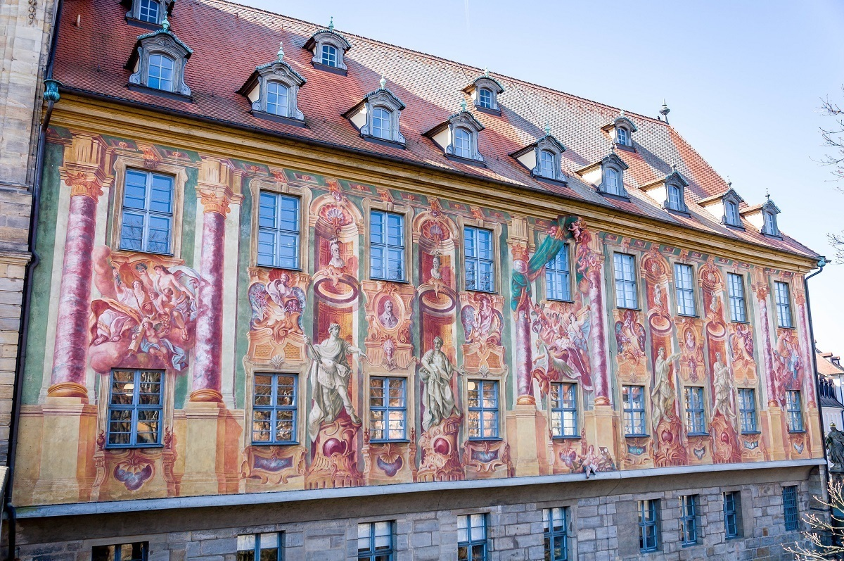The frescoes on the Alte Rathaus in Bamberg, Germany
