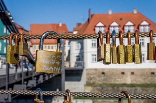 The Lovelocks on the bridge in Bamberg, Germany.
