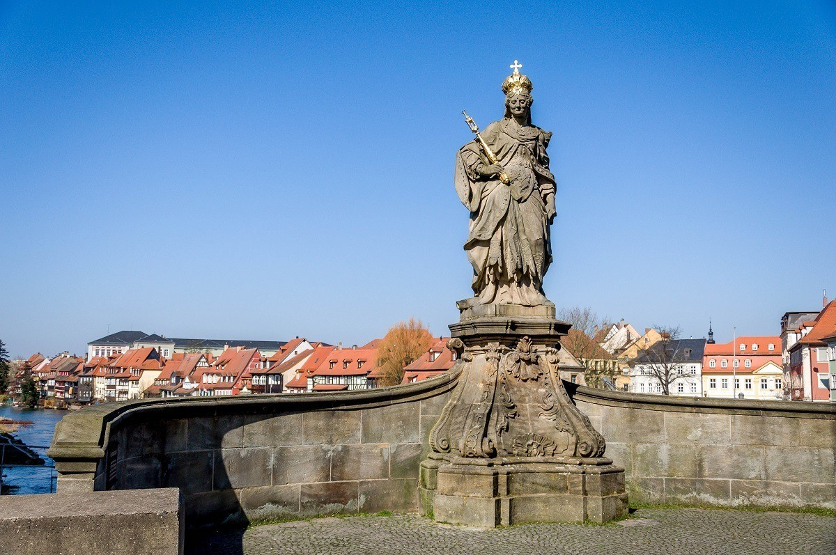 The Queen Kunigunda Statue on the Alte Rathaus bridge in Bamberg