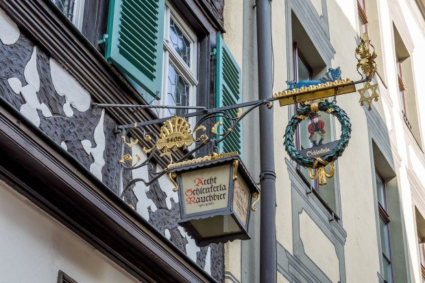 The sign for the Schlenkerla bar, home of the Rauchbier (smoked beer).