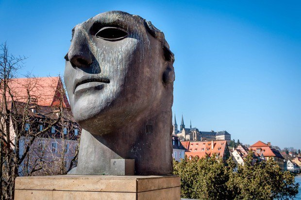 The statue at the beginning of the Alte Rathaus bridge in Bamberg, Germany.