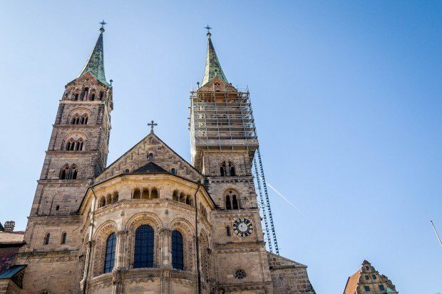 The Bamberg Cathedral on the hill above the town.