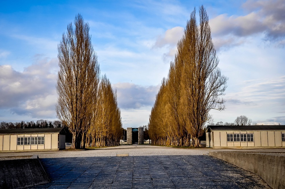 Path through the middle of Dachau concentration camp in Germany