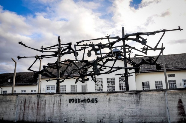 Memorial sculpture seen visiting Dachau concentration camp