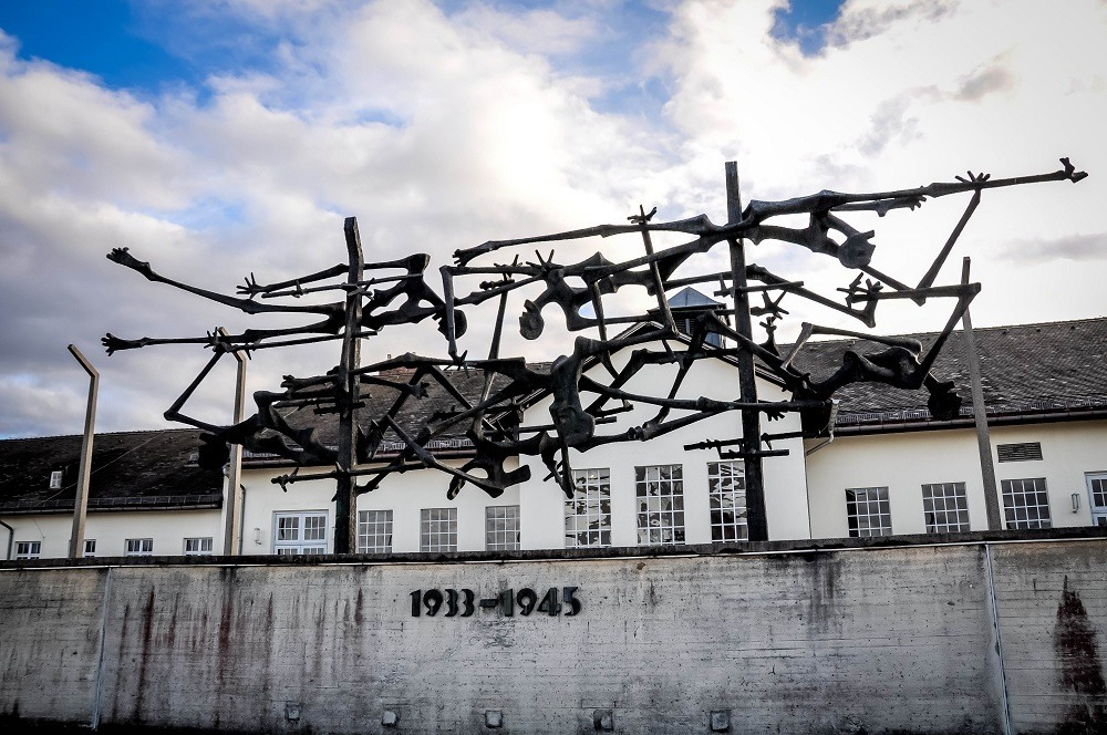 Memorial sculpture seen visiting Dachau concentration camp