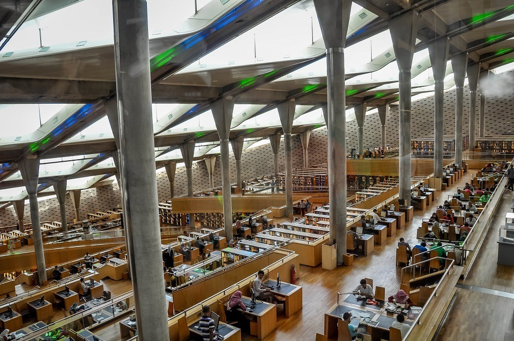 Reading room of the Bibliotheca Alexandria in Alexandria Egypt