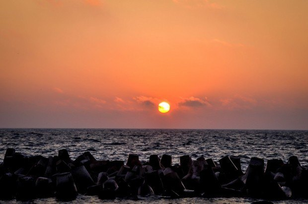 Sunset over the Mediterranean Sea off the coast of Alexandria Egypt