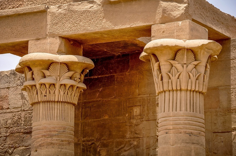 Intricately carved capitals of the Philae temple columns