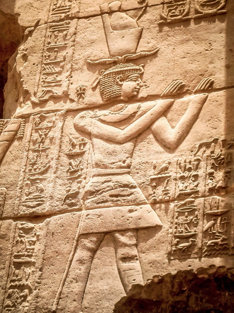 Relief of a pharaoh at Philae temple in Egypt