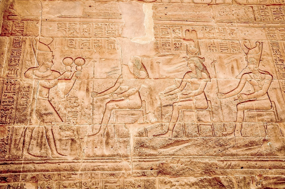 Brilliant carvings of pharaohs and gods  in Philae temple