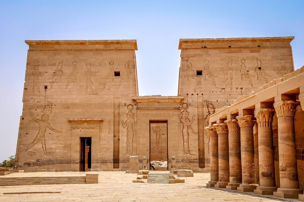 The exterior of the Philae temple in Egypt