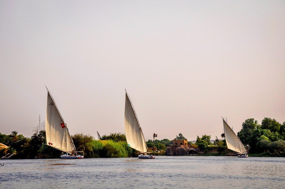 Three feluccas on the Nile