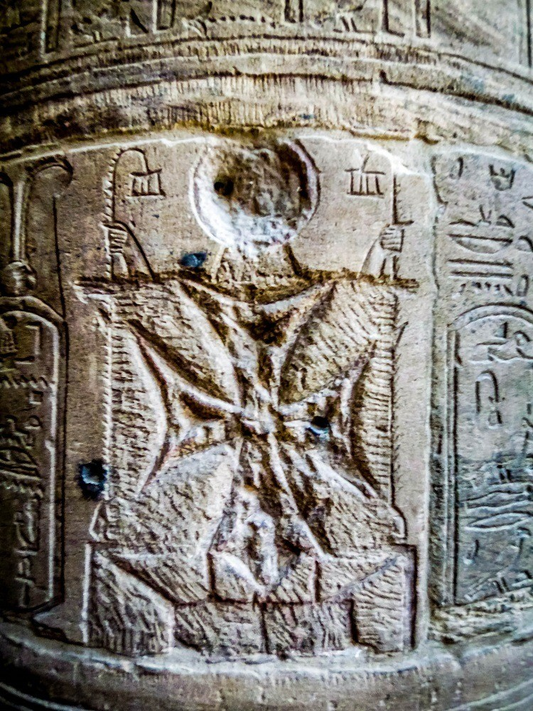Cross carved in the holy of the holies at Philae temple in Egypt