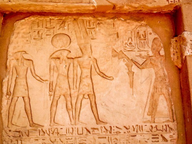 Relief in wall at Abu Simbel in Egypt