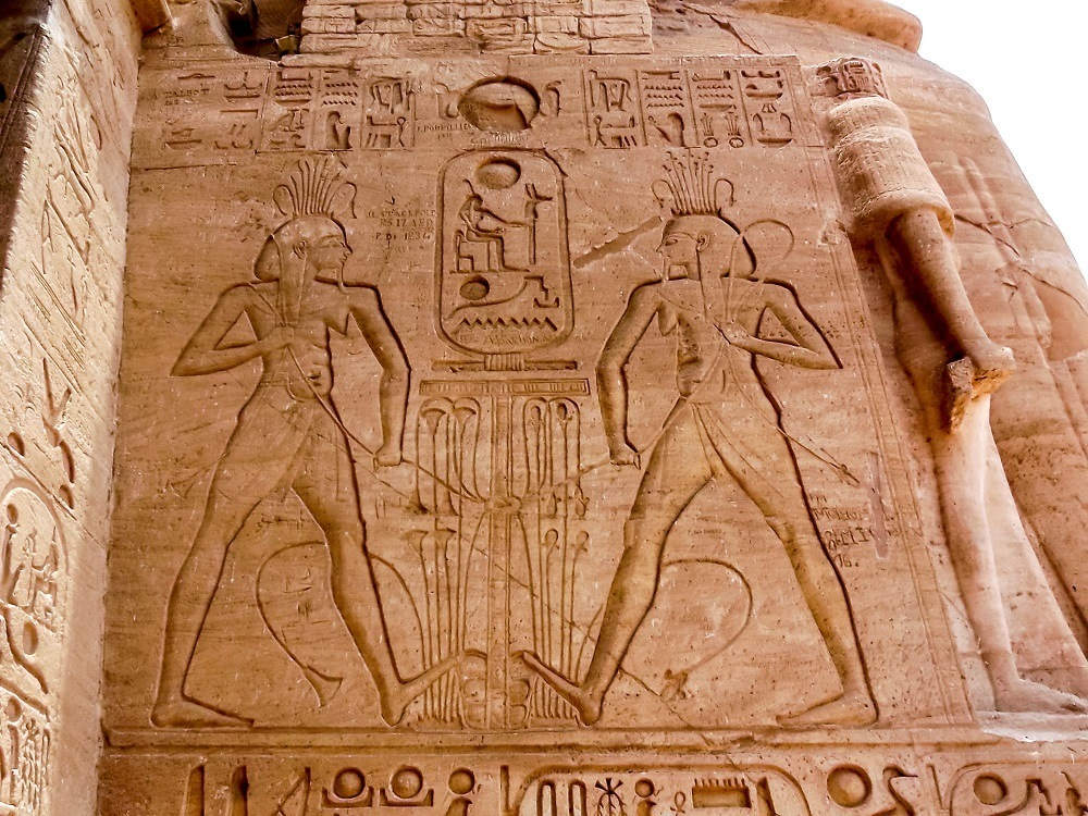 Massive carved relief at Abu Simbel