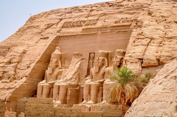 Front of Abu Simbel, a stop in the middle of our Egypt itinerary.  Traveling to Egypt was an incredible experience and one we hope other people can experience.