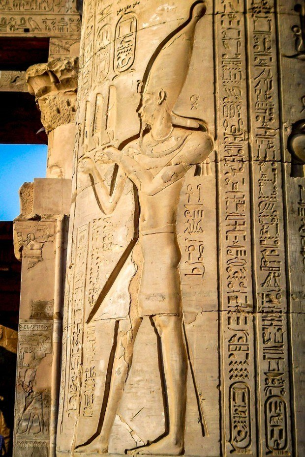 Pharaoh relief at Kom Ombo temple
