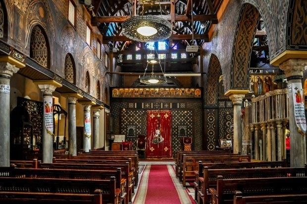 Interior of St. Sergius and Bacchus Church in Coptic Cairo
