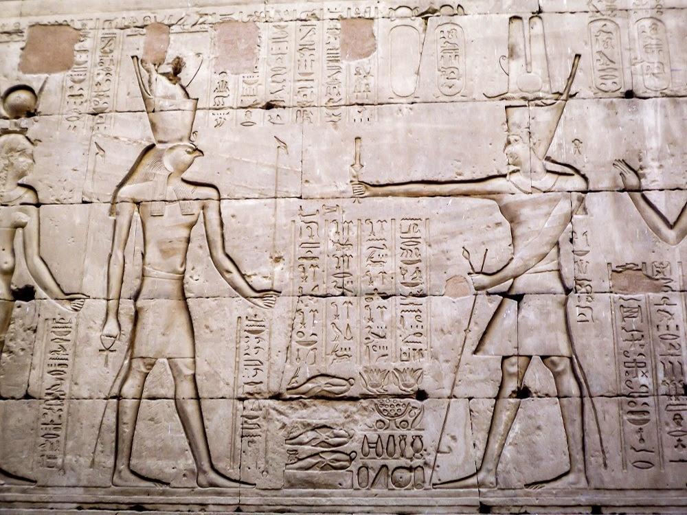 Reliefs of the pharoahs in the Edfu Temple