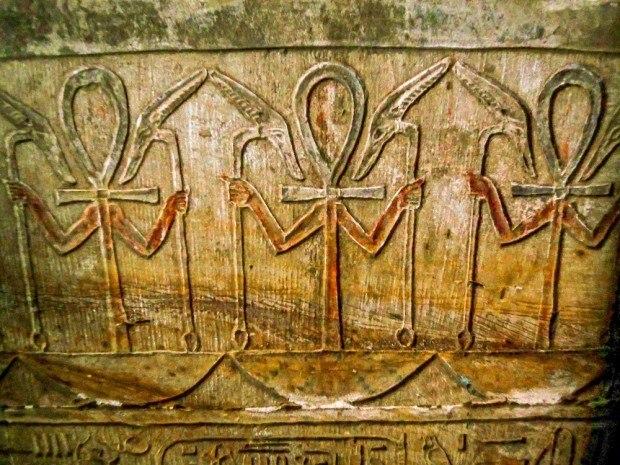 Edfu Temple photos: Colored ankhs inside the Temple of Horus Edfu in Egypt