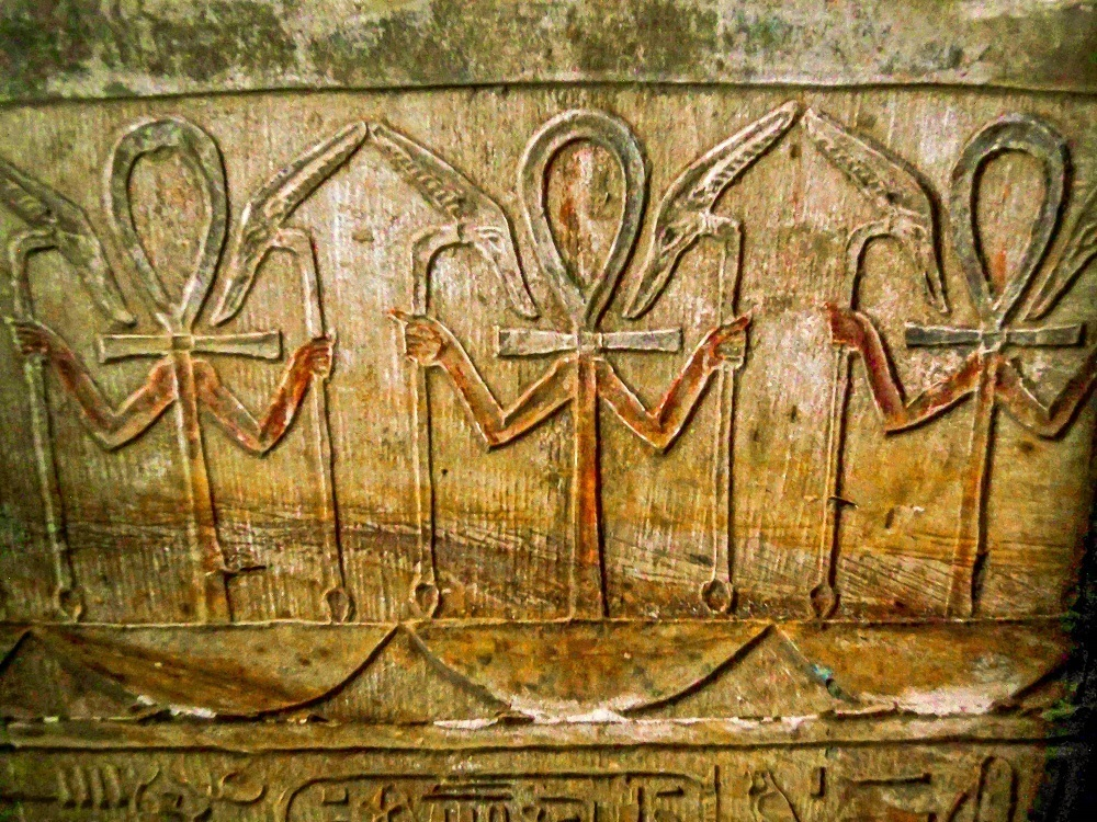 Colored ankhs inside the Temple of Horus at Edfu