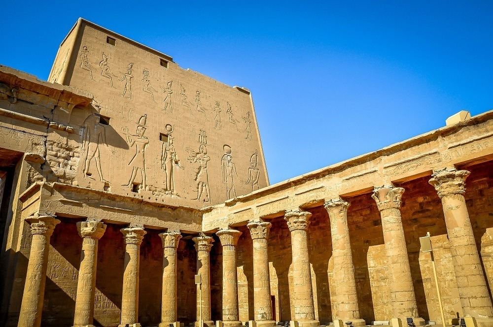 Interior courtyard of the Temple of Edfu, with carvings and columns