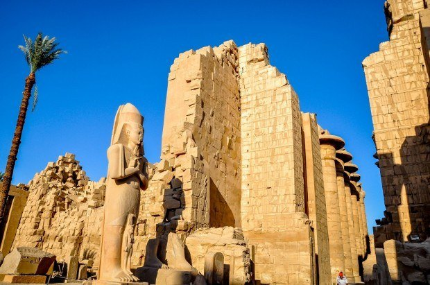 Statues and columns at Karnak Temple in Egypt