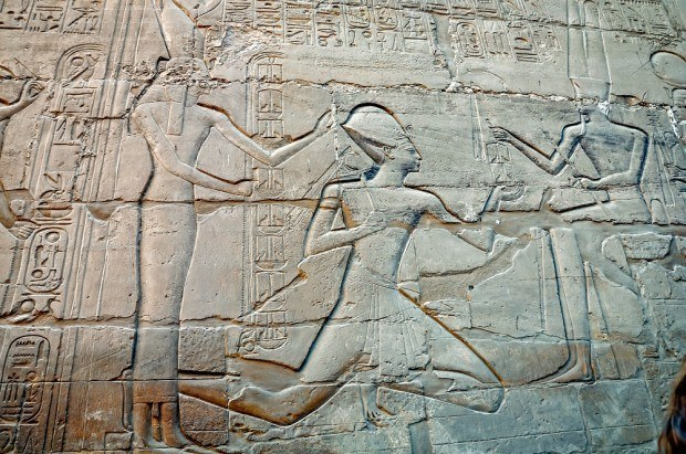 Carvings and reliefs line the walls of Karnak Temple