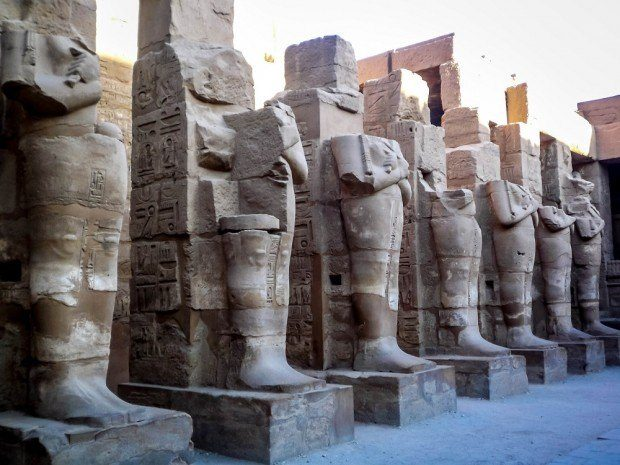 Pharaoh statues at Karnak Temple