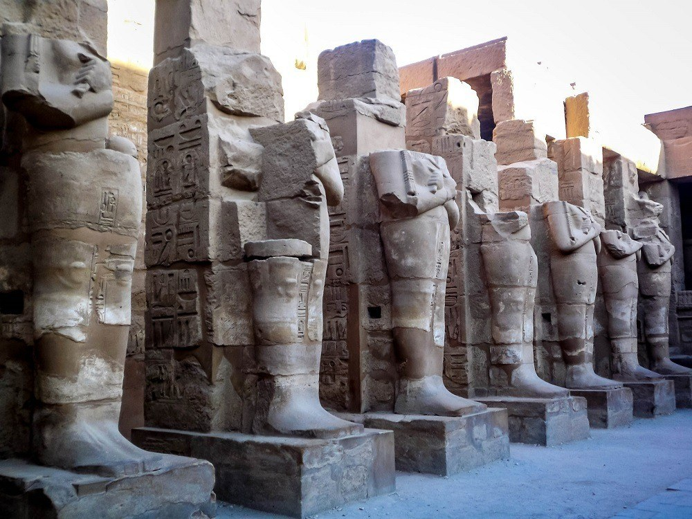 Pharaoh statues at the Temple of Karnak in Egypt