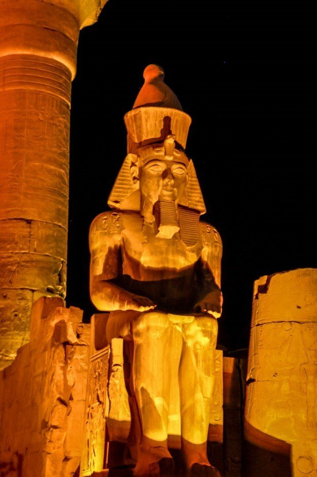 Seated pharaoh statue at Luxor Temple
