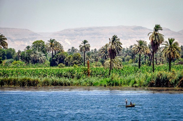 Nile River fishermen near Edfu Egypt. After checking out Egypt temple buildings, watching the life along the river was the real highlight of our Nile River cruise.