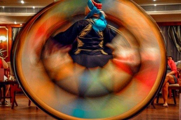 Colorful circular skirt of the whirling dervish on our Nile River cruise.