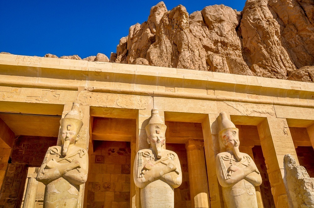 Carvings of the pharaoh at Hatshepsut temple